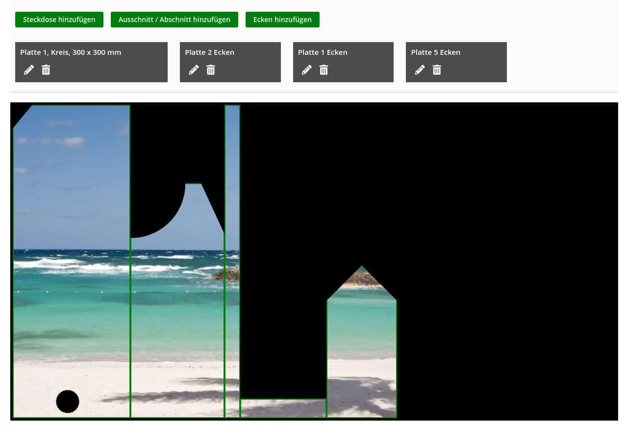 Individuelle Paneele mit Strand-Motiv als Duschrückwand aus Glas
