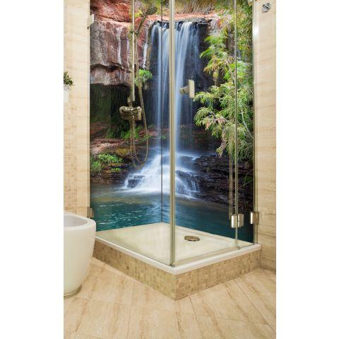 """Eckduschrückwand mit Motiv 2 x 90x200cm Aluverbund 3mm """"Wasserfall"""" Duschpaneel, Duschwand ohne Fliesen"""
