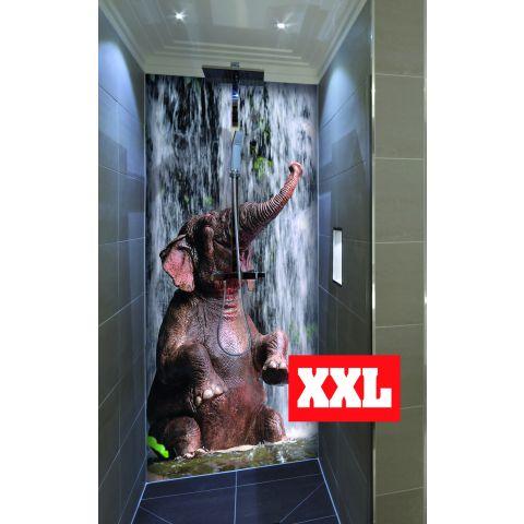 """Duschrückwand XXL mit Motiv 120x220cm Aluverbund 3mm """"Elefant vor Wasserfall"""" Duschpaneel, Duschwand ohne Fliesen DU231"""
