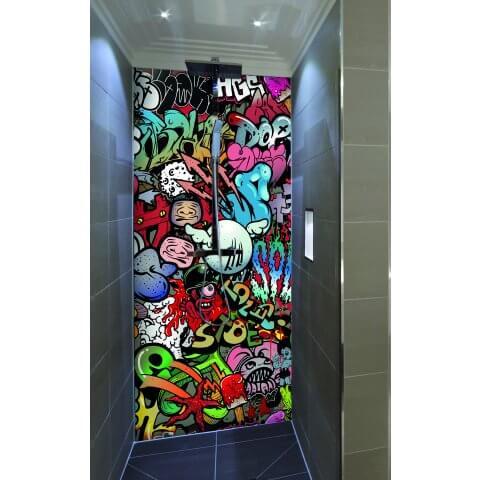 "Duschrückwand mit Motiv 90x200cm Aluverbund 3mm ""Kunterbuntes Graffiti"" Duschpaneel, Duschwand ohne Fliesen DU043"