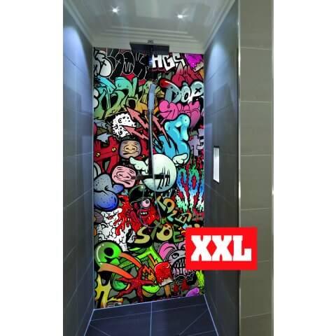 "Duschrückwand XXL mit Motiv 120x220cm Aluverbund 3mm ""Kunterbuntes Graffiti"" Duschpaneel, Duschwand ohne Fliesen DU043"