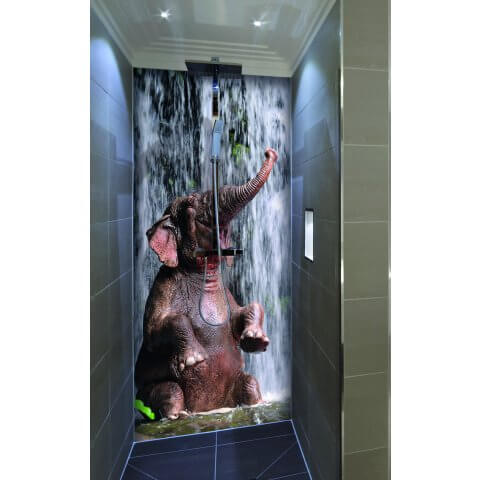 """Duschrückwand 90x200cm Aluverbund """"DU231 Elefant vor Wasserfall"""""""