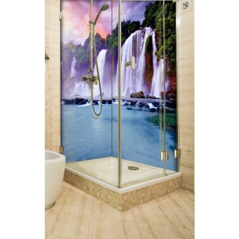 "Eckduschrückwand mit Motiv 2 x 90x200cm Aluverbund 3mm ""Traumhafter Wasserfall"" Duschpaneel, Duschwand ohne Fliesen DU246"