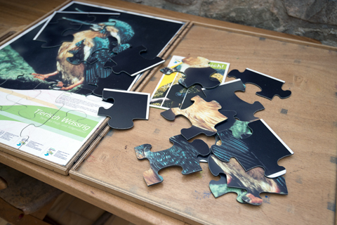 Großes Puzzle in der Ausstellung Wildnis(t)räume in Vogelsang