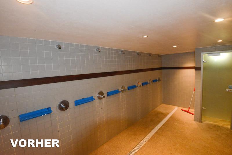 Vor der Renovierung sind die Duschen im Monte Mare weit weg vom Urlaubsfeeling und Wohlfühlcharackter.